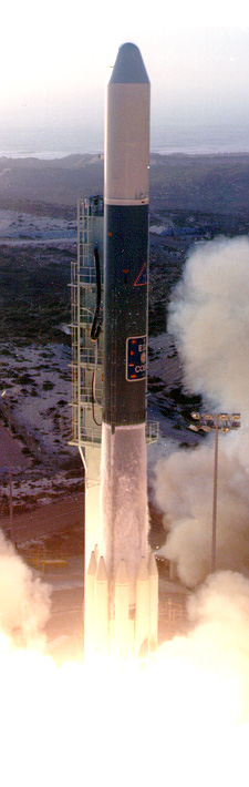 The launch of COS-B from Vandenberg Air Force Base.