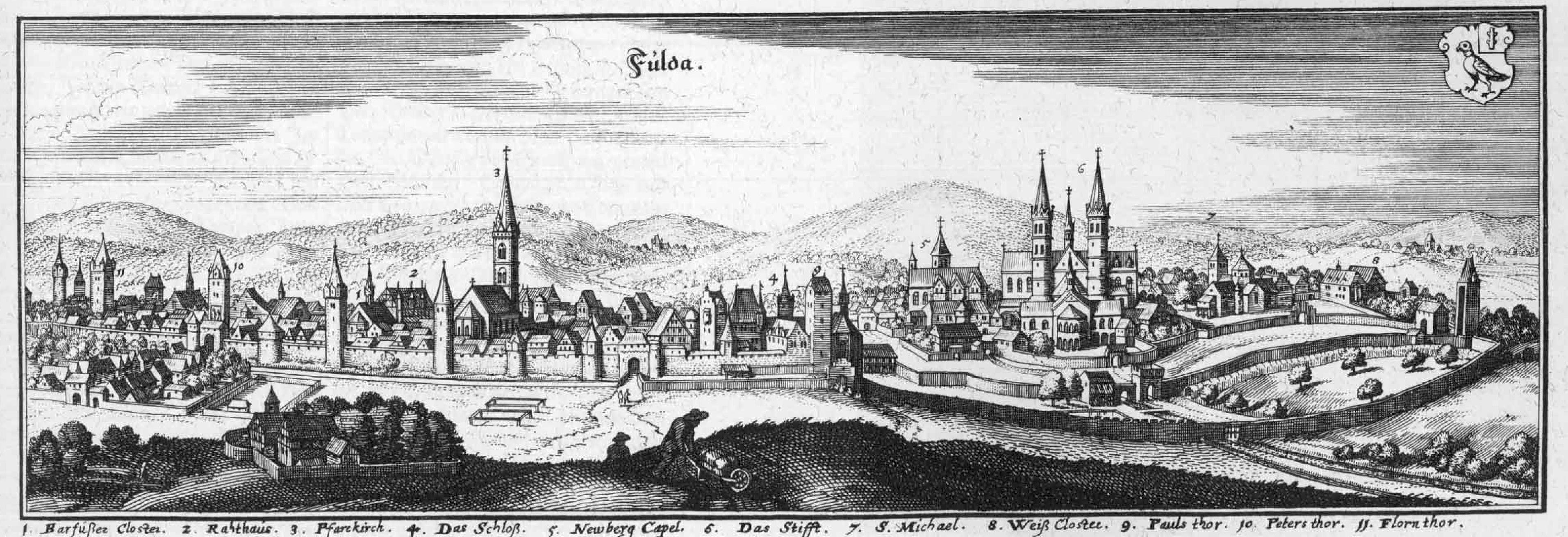 Kupferstich von Fulda von Matthäus Merian 1655