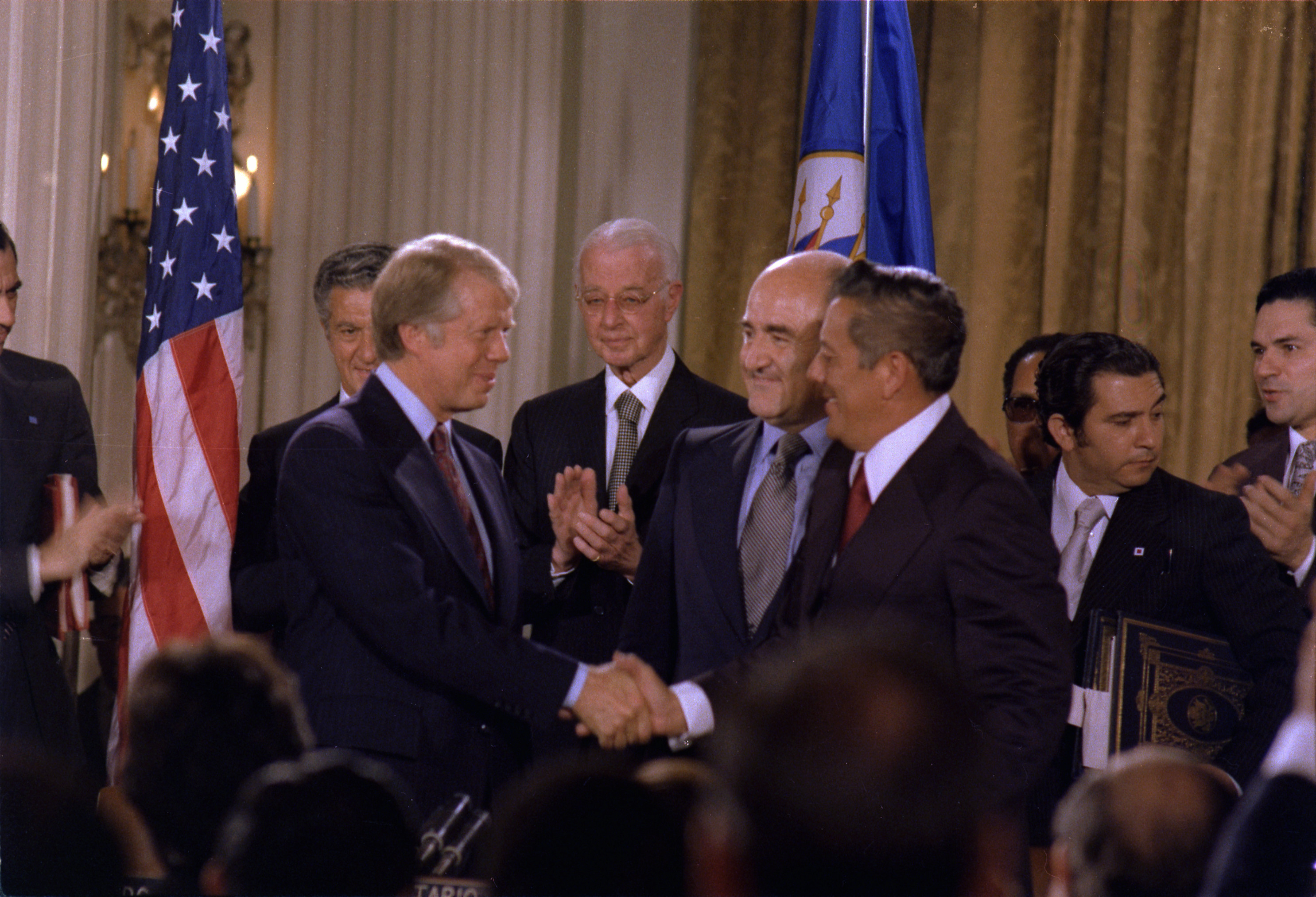 President Carter shakes hands with General Torrijos of Panama after signing the Panama Canal Treaty.