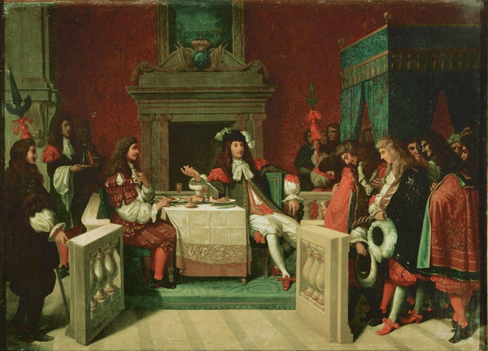 Molière et le roi attablé. Le roi parle aux courtisans, Molière regarde le roi.