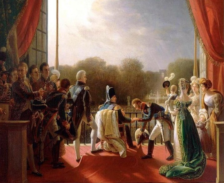 Louis XVIII and the royal family assisting at the return of the troops of the Spanish expedition from the balcony of the Tuileries, 1824