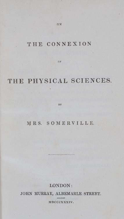 Title page of Mary Somerville's On the Connexion of the Physical Sciences (1834), an early popular-science book.