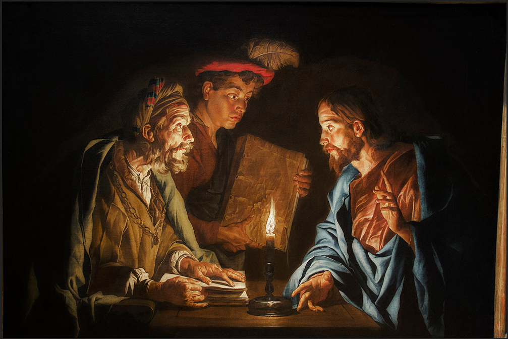 Two seated figures of Christ and Nicodemus at a small table illuminated by a single candle, with a boy standing behind them holding a book