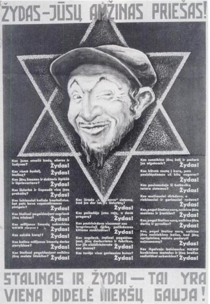Antisemitic Nazi propaganda poster in Lithuanian language
