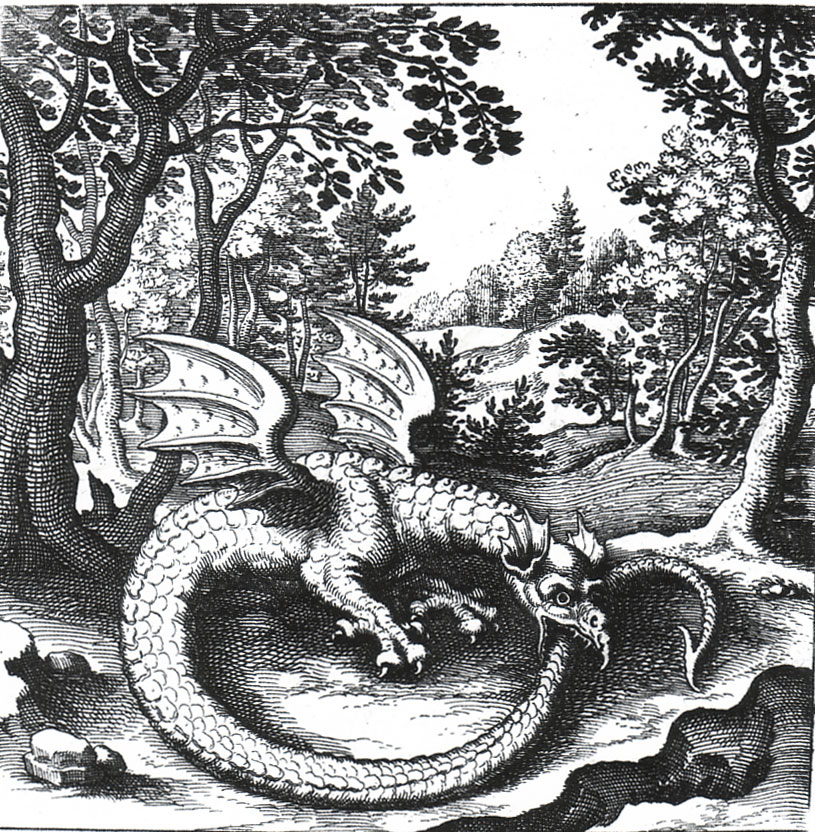 """Ouroboros. Engraving L. Jennies from the book of alchemical emblems """"Philosopher's Stone"""", 1625."""