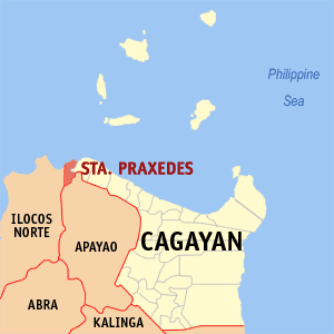 Map of Cagayan showing the location of Santa Praxedes