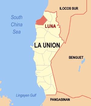 Map of La Union showing the location of Luna