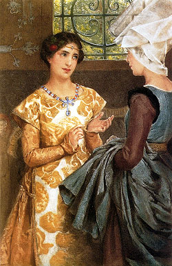 Catharine learns English from her gentlewoman Alice in an 1888 lithograph by Laura Alma-Tadema. Act III, Scene iv. Queen Katherine of France - Laura T. Alma-Tadema.jpg