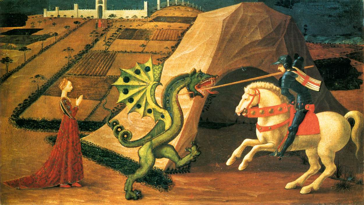 http://commons.wikimedia.org/wiki/File%3ASaint_George_and_the_Dragon_by_Paolo_Uccello_(Paris)_01.jpg