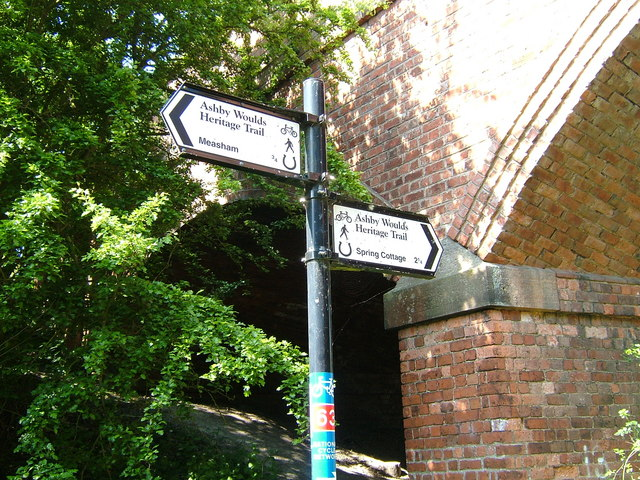 Signpost on the Ashby Woulds Heritage Trail, Oakthorpe and Donisthorpe, Leicestershire