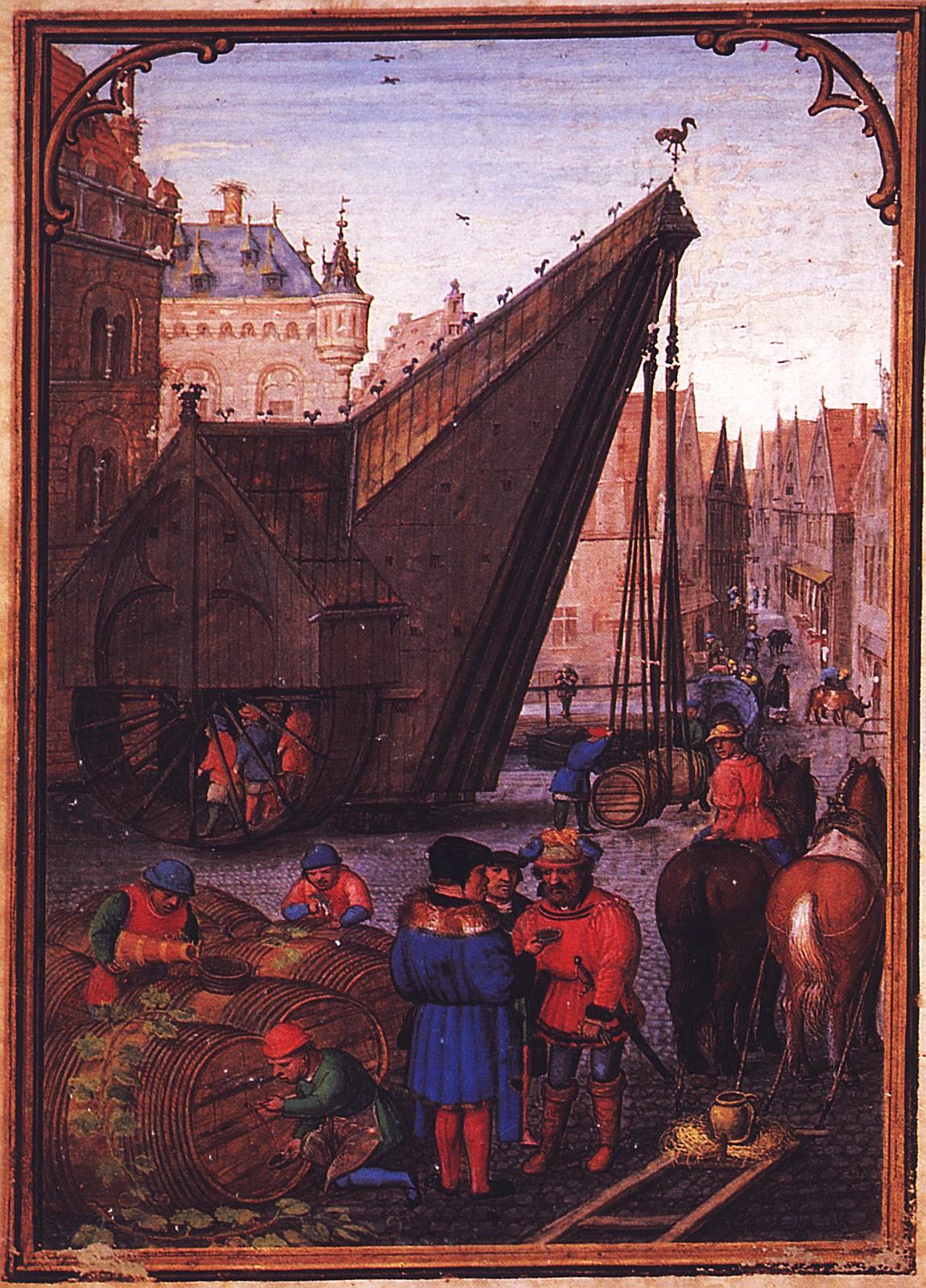 In einem anderen Stundenbuch wählte Simon Bening ein ungewöhnliche Motiv für den Oktober: Verkauf von Wein und Transport von Weinfässern im Hafen von Brügge. (München, StB, cod. lat. 23638, fol. 11v.)