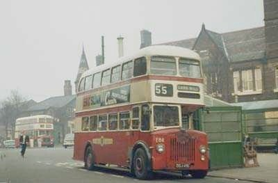 A St Helens Corporation liveried bus in 1968, in front of the Town Hall