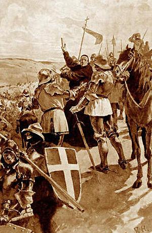 Papežský legát Jindřich Beaufort se snaží zastavit prchající križáky po bitvě u Tachova