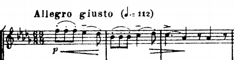 Detail of score of Tchaikovsky's String Quartet No. 2 in F major, showing a multiple time signature