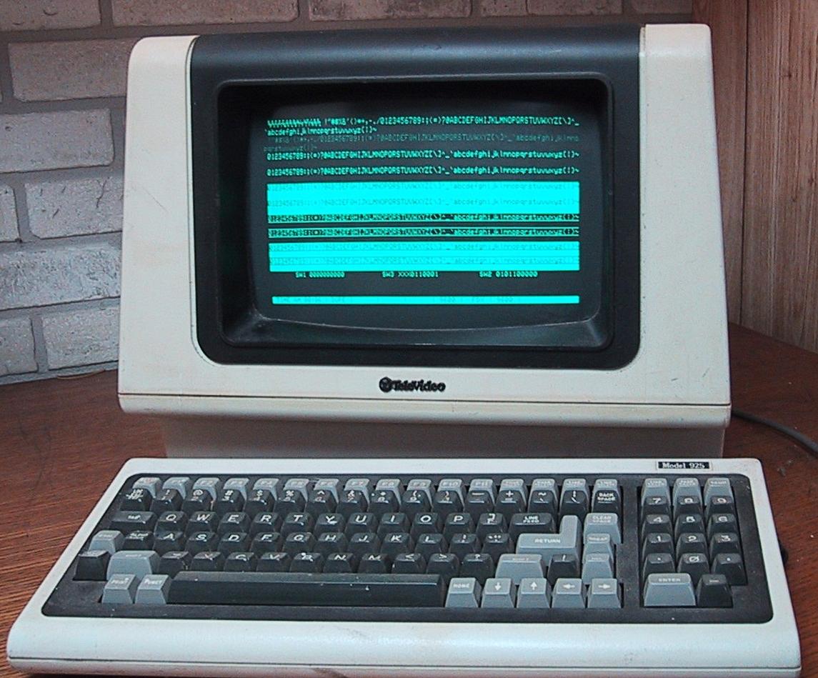 elevideocharactermodeterminal,usingamicroprocessor,manufacturedaround1982