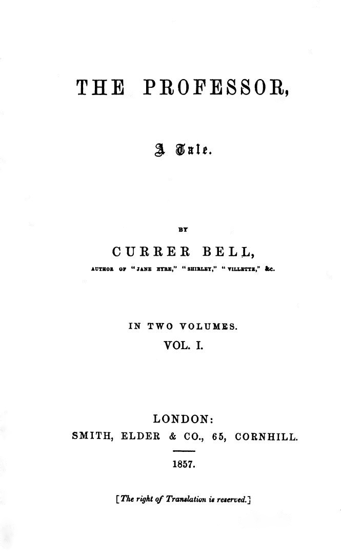 Title page from Charlotte Brontë's first novel, The Professor
