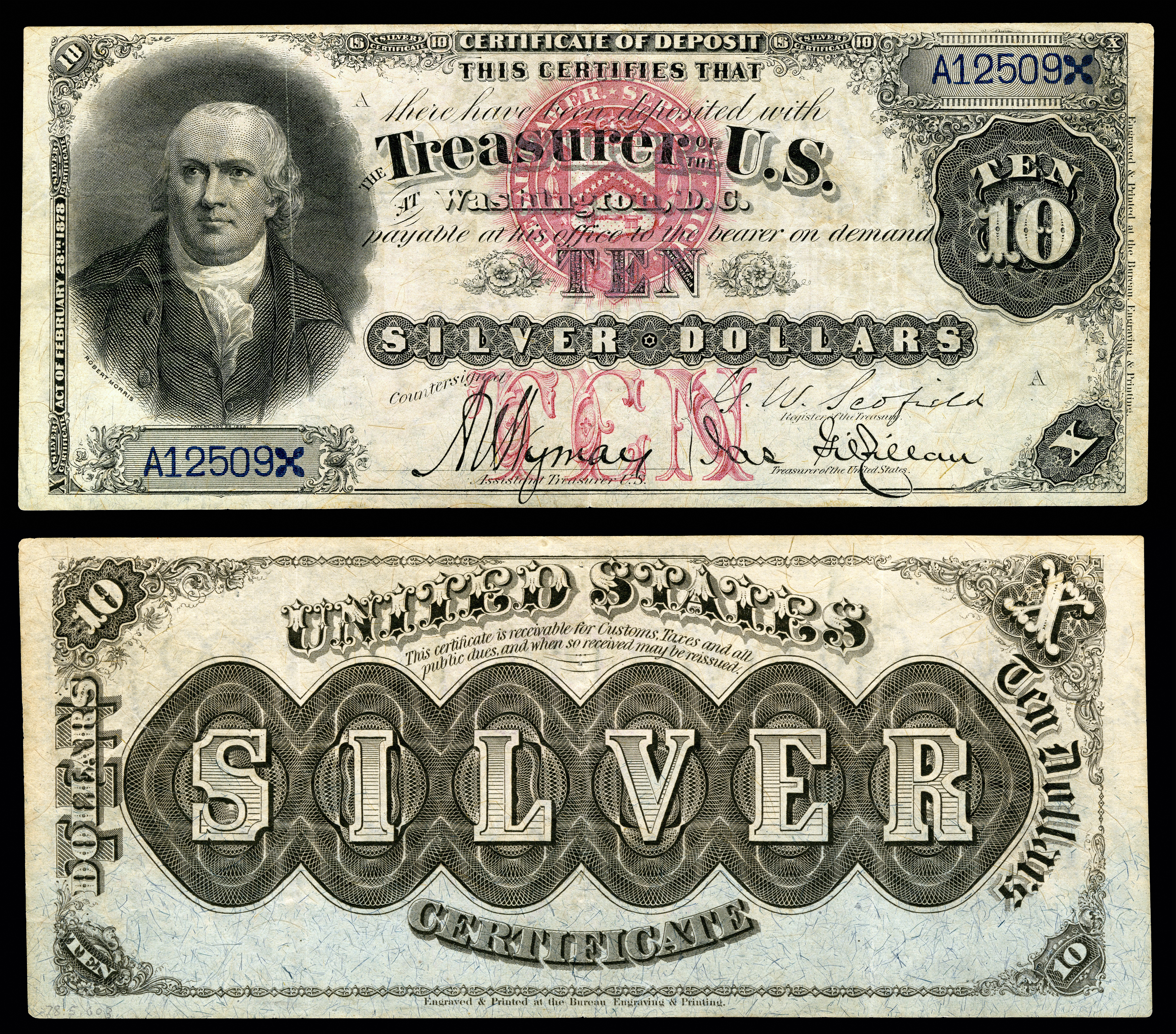 Silver certificate united states wikipedia 10 silver certificate series 1878 fr285a depicting robert morris xflitez Images