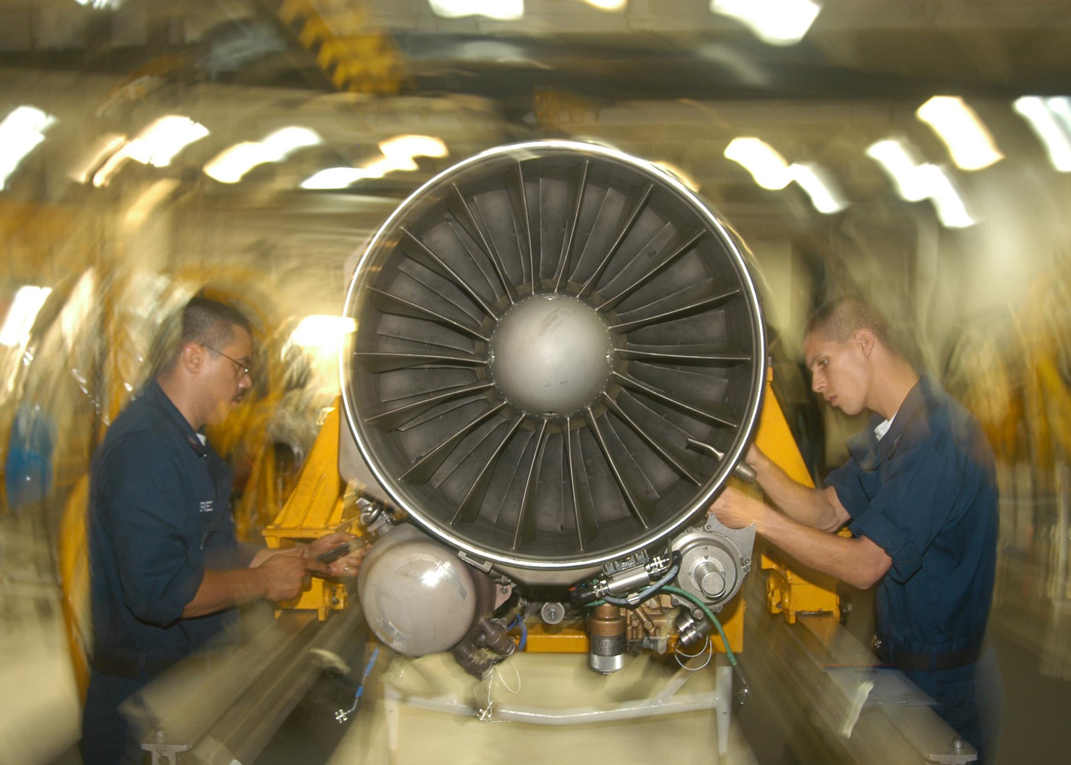 begin to remove the fan from an f a 18 hornet turbo fan jet