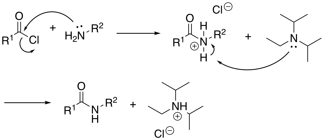 File:Use of DIPEA in amide coupling reaction between acid chloride and an amine.png