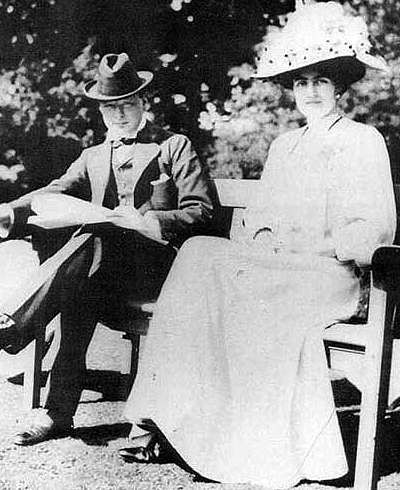 Winston Churchill (1874-1965) with fiancée Clementine Hozier (1885-1977) shortly before their marriage in 1908.