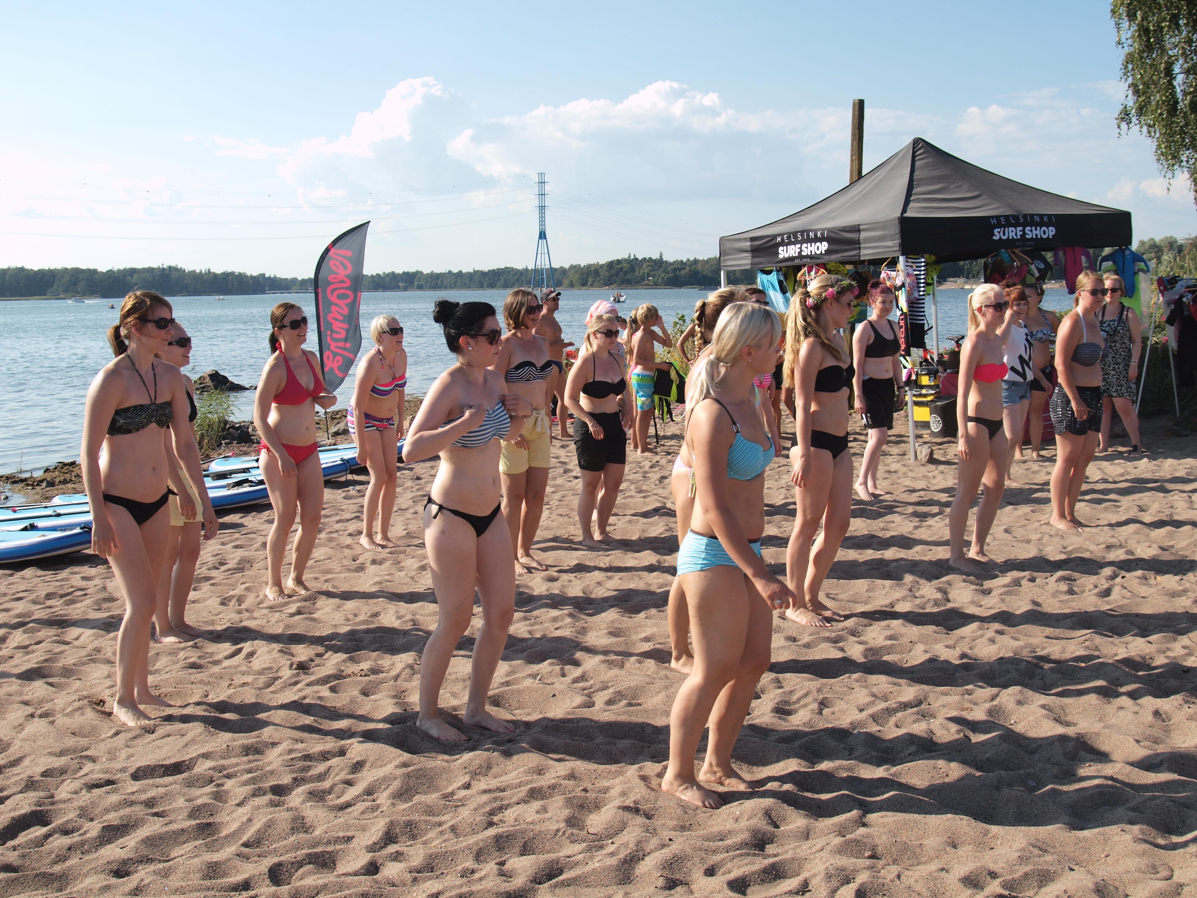 With you beach bikini fun