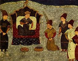 Batu Khan establishes the Golden Horde. Tsar Batii na prestoli.jpg