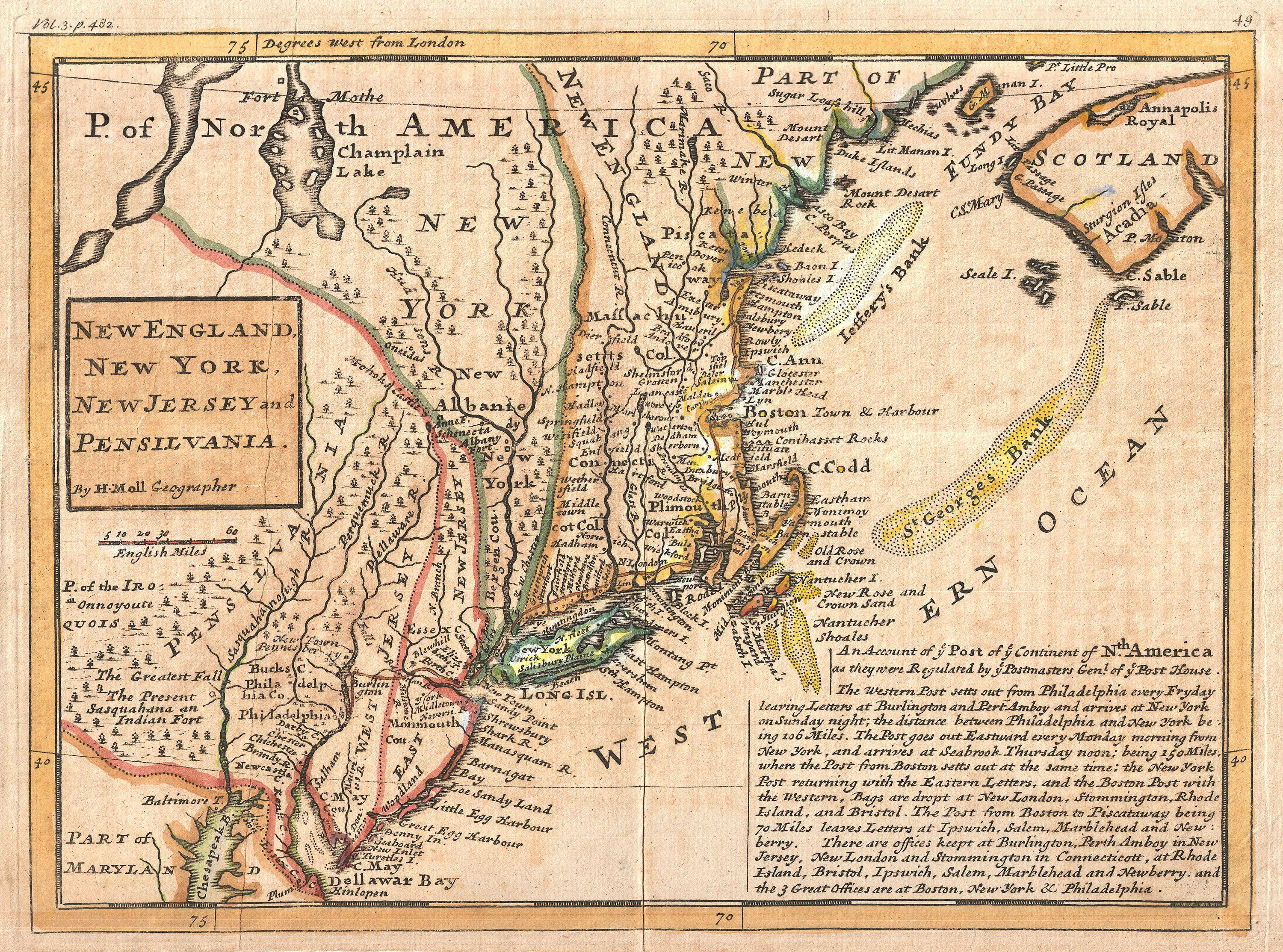 Golvlampa New England - File 1729 Moll Map of New York, New England, and Pennsylvania (First Postal Map of New England
