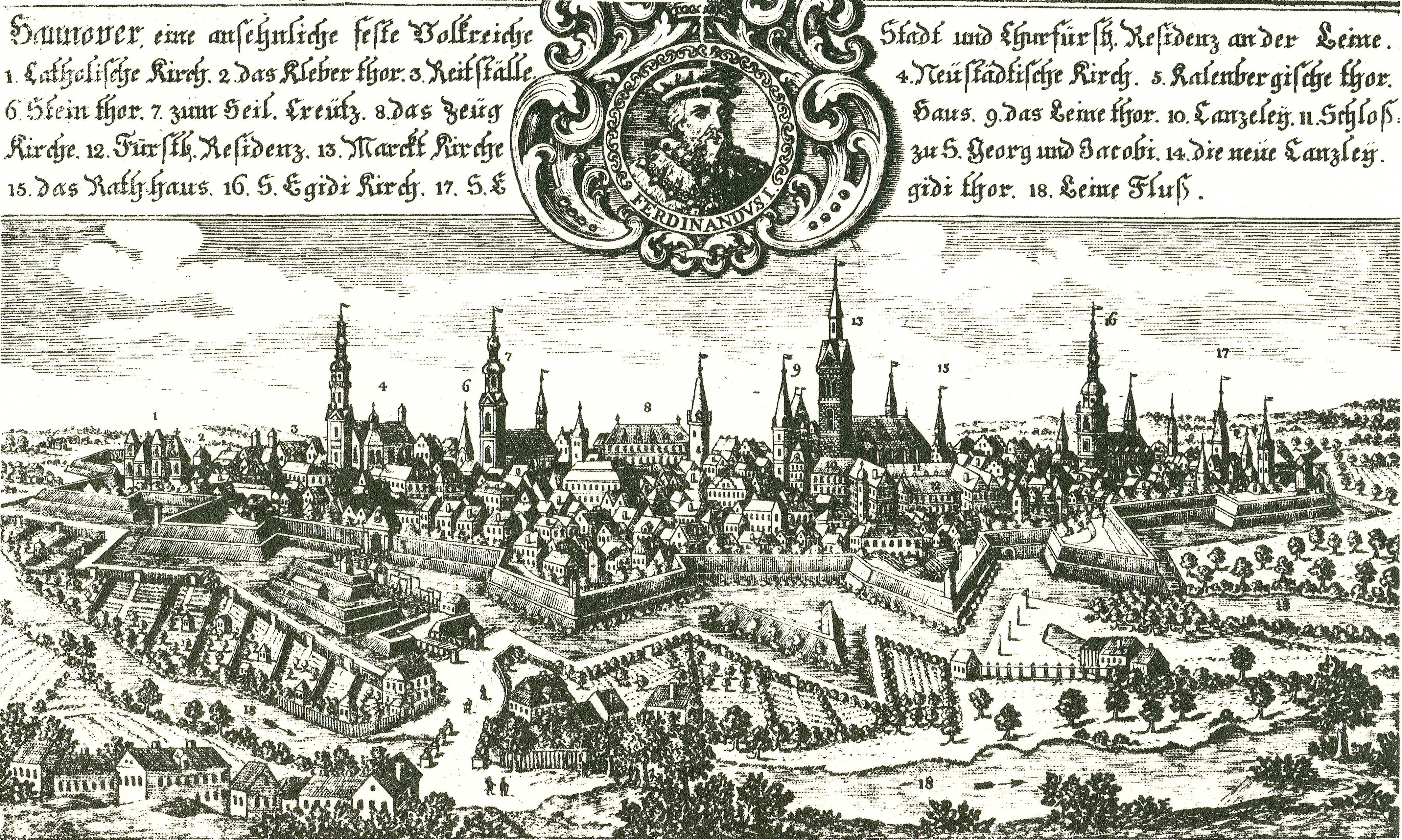 File:1735 1785 Kupferstich Hannover von Westen, nach Friedrich Bernhard  Werner und Johann Friedrich