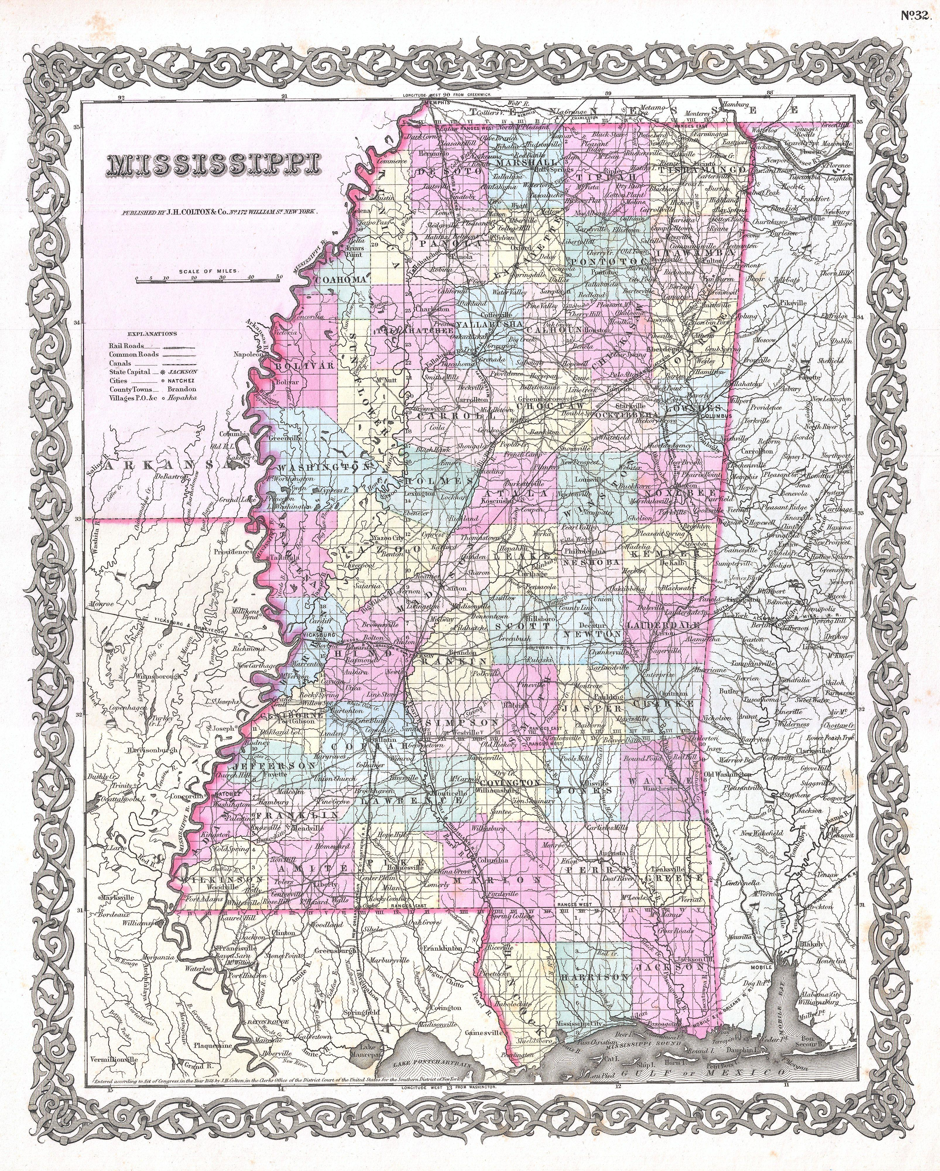 File Colton Map Of Mississippi Geographicus Mississippi - Map of mississippi
