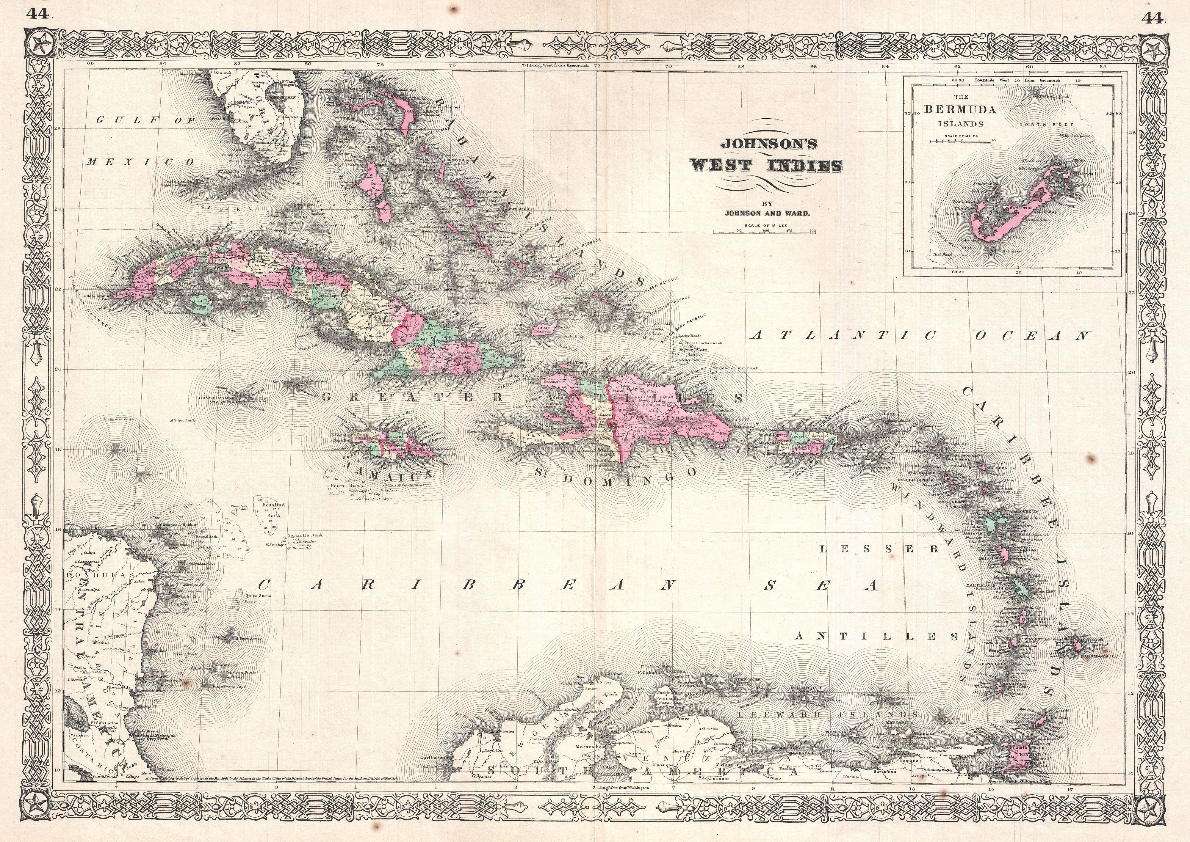 File 1864 Johnson Map Of The West Indies And Caribbean Geographicus Westindies