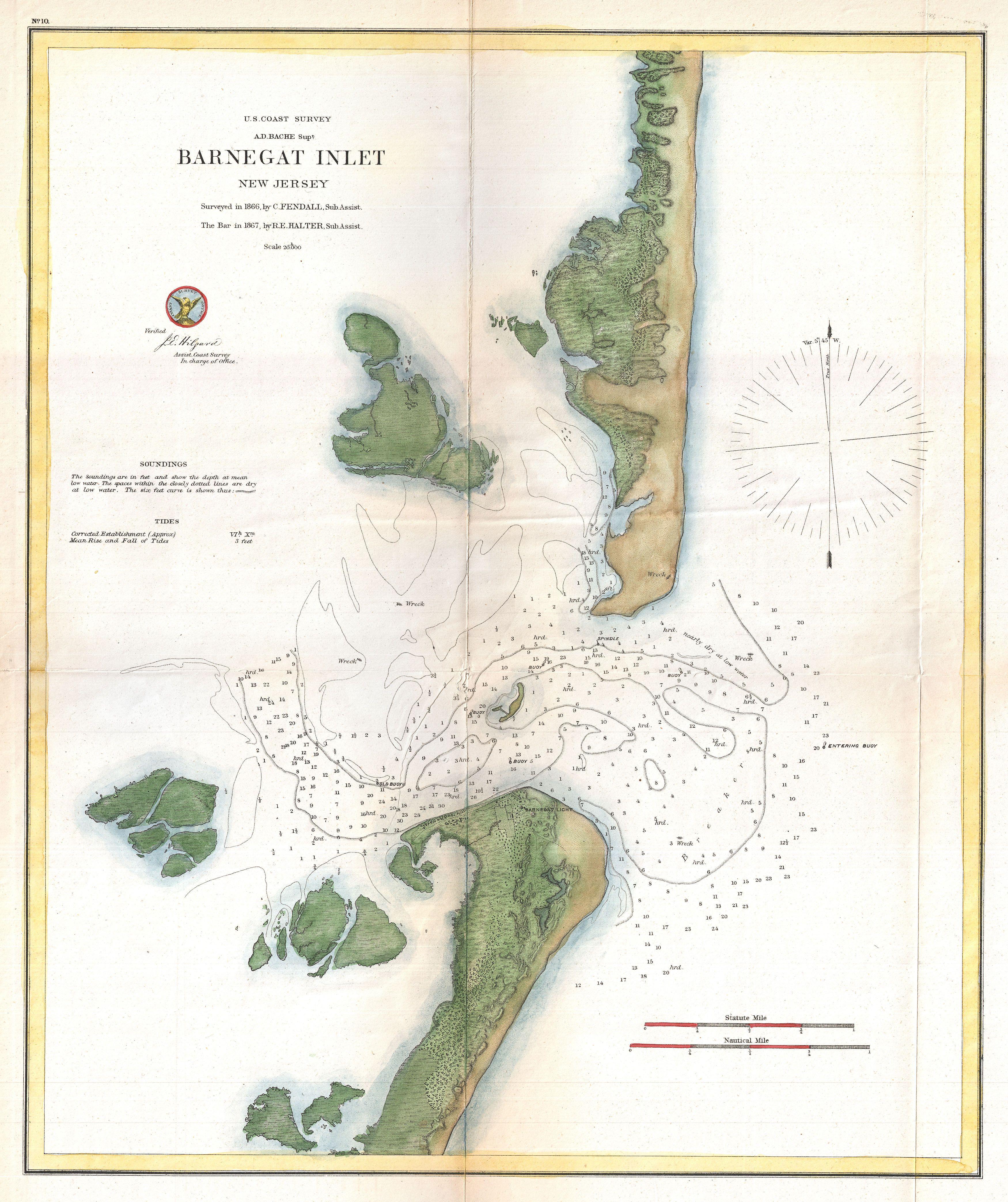 File 1865 U S Coast Survey Map Of Barnegat Inlet Long Beach Island