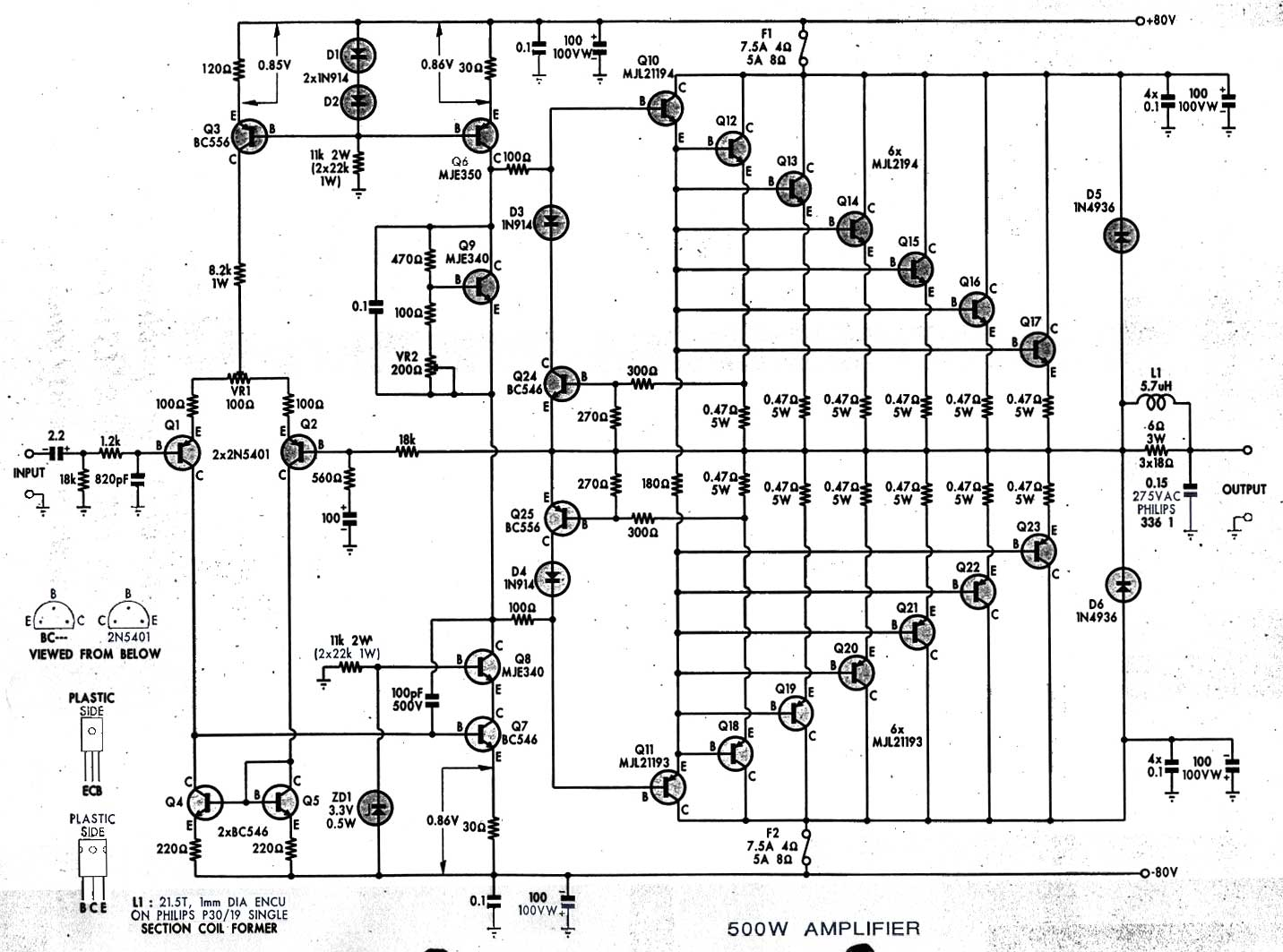 500 Watt Amplifier Circuit Pdf Download Wiring Diagrams Diagram Ups 500w File Mjl21193 21194 Wikimedia Commons Hf Watts