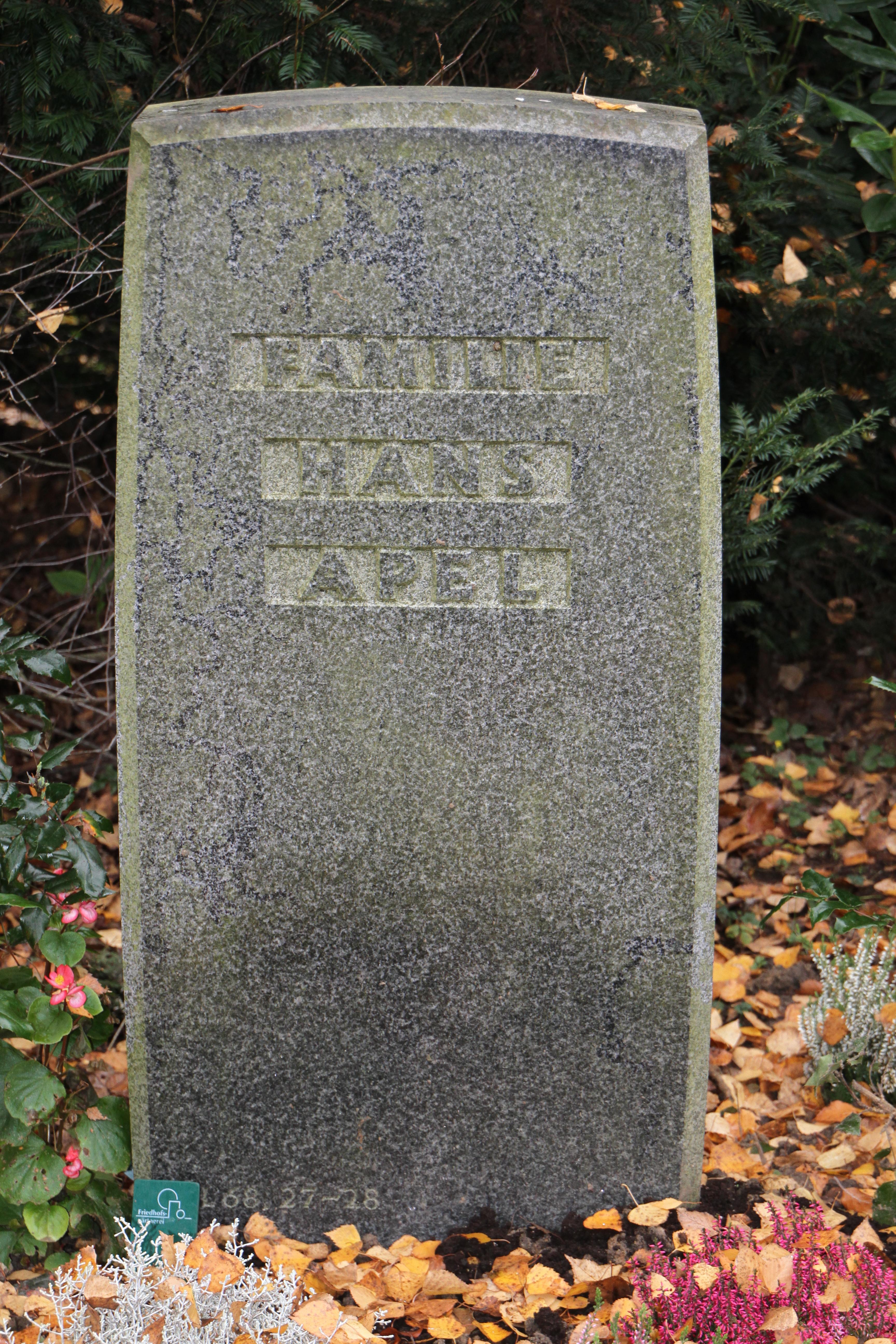 Grab von Hans Apel
