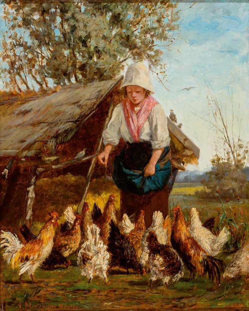 Antonio Montemezzo, Junge Bäuerin füttert die Hühner
