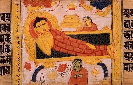The Buddha's entry into Parinirvana. Sanskrit manuscript. N land , Bihar, India. P la period.