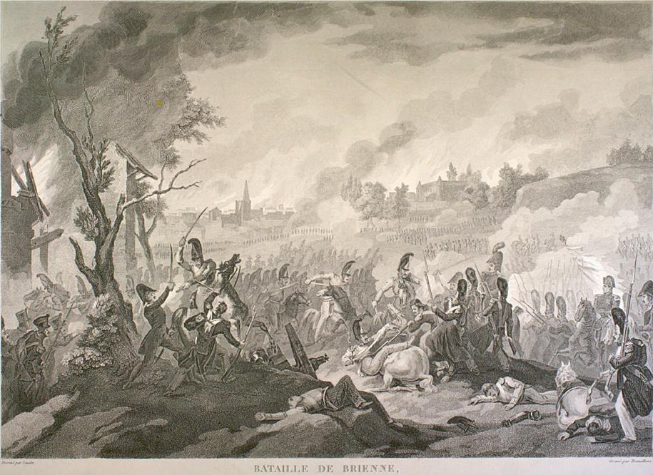 Русские войска пытаются отбить замок в Бриенне. Гравюра XIX века.