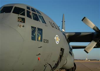 The No. 2 ship of the C-130 Avionic Modernization Program from Edwards Air Force Base, Calif., visited Dyess 27 November 2007. The program will update the avionics on more than 400 C-130s. Part of the program includes new navigation system, a heads-up display, an all-digital cockpit, and other technology advances. - Dyess Air Force Base