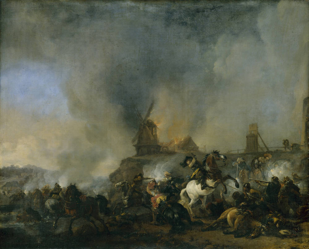 Cavalry in front of a burning mill, by Wouwerman