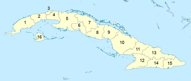 Peta pembagian administratif Kuba