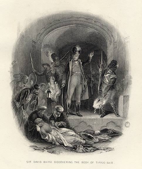 Rajah Cawn and David Baird, discovering the fallen body of Tipu Sultan after the Siege of Srirangapatna in the year 1799. Engraving after a painting by David Wilkie. - Tipu Sultan