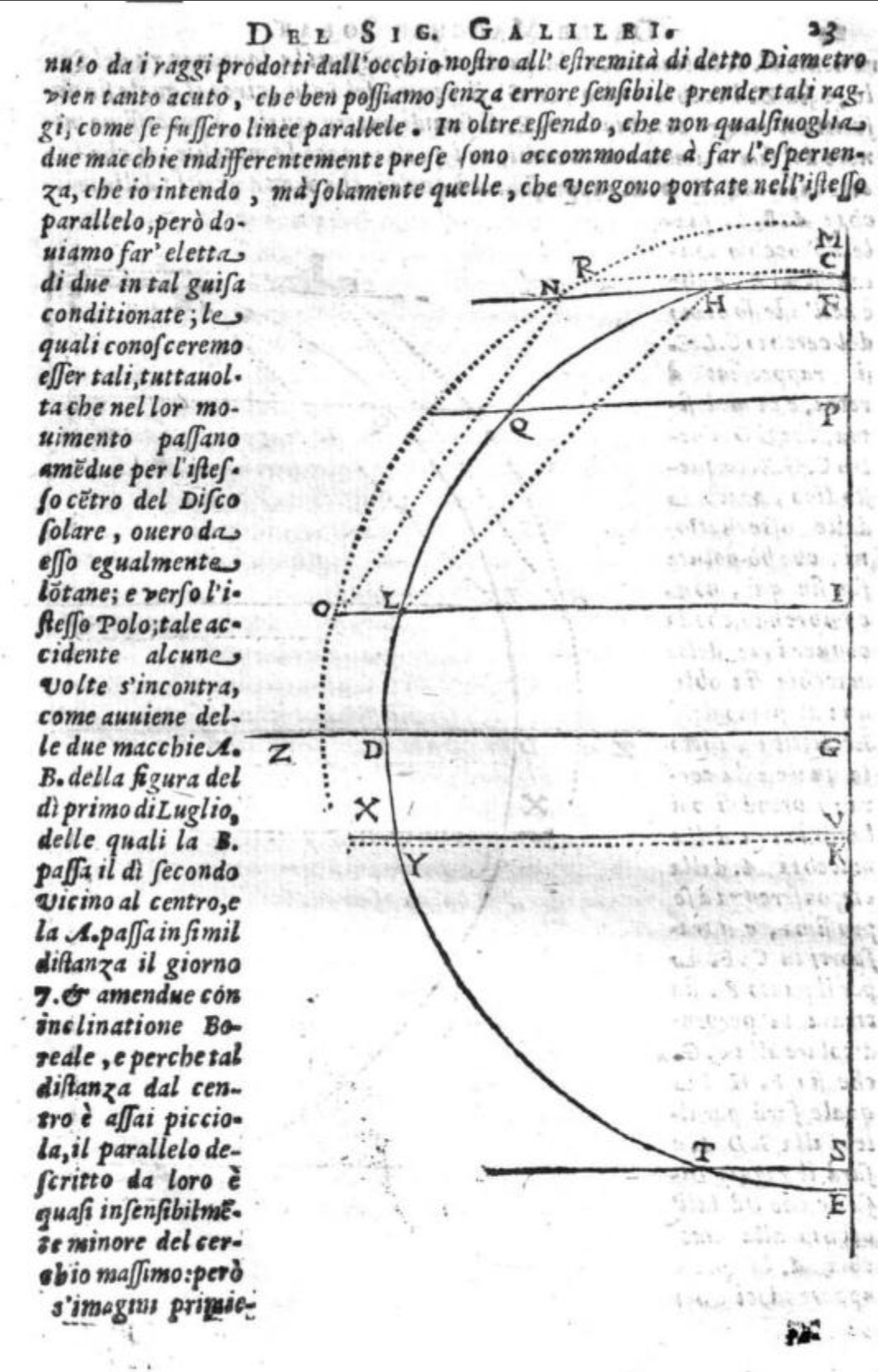 file:diagram from galileo's second 'letter on sunspots' proving that  sunspots are on the surface of the sun jpg