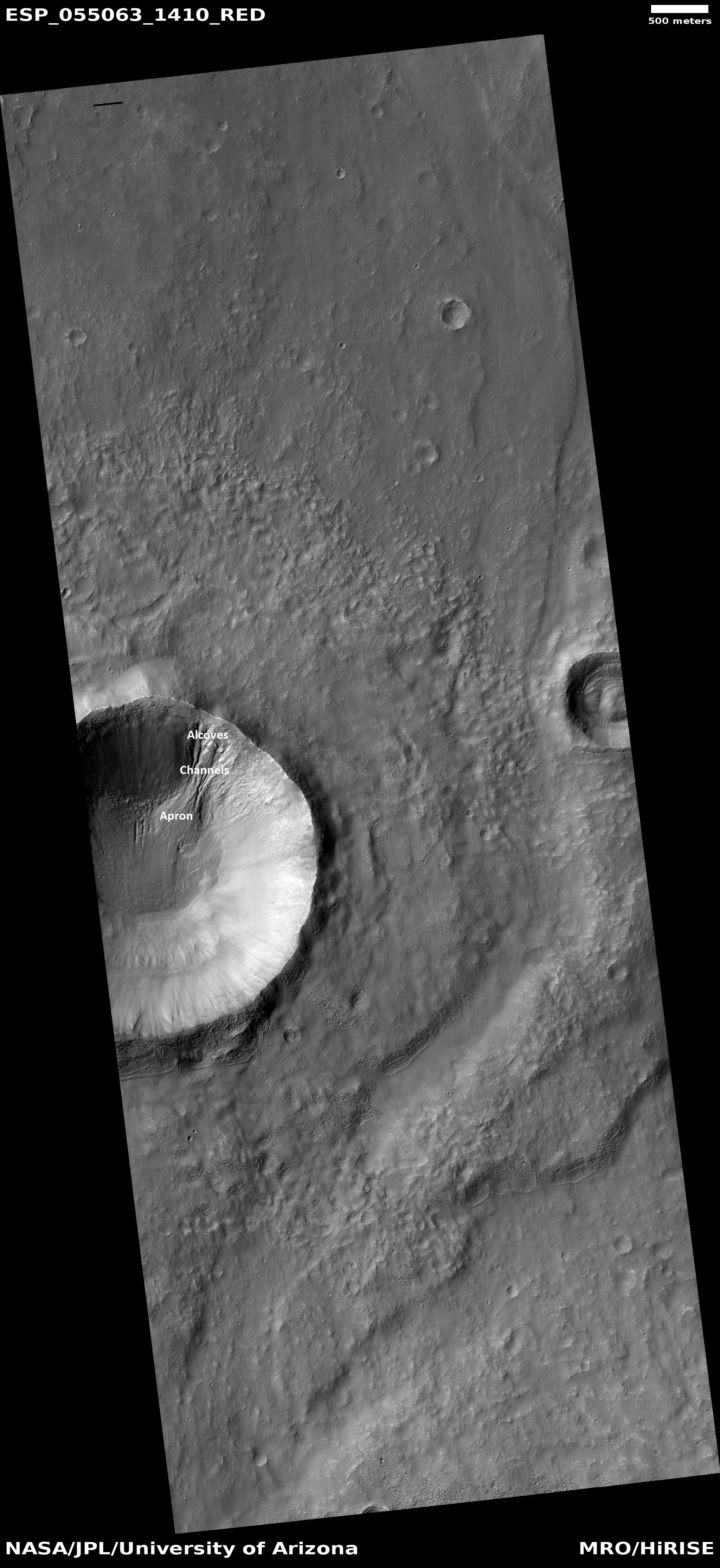 Labeled gully, as seen by HiRISE under HiWish program