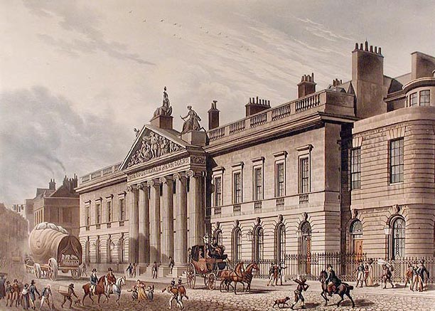 East India House on Leadenhall Street in London as drawn by Thomas Hosmer Shepherd in 1817