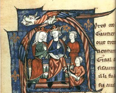 12th-century depiction of Matilda's eldest son Henry II and his wife Eleanor holding court Eleonora Jindra2.jpg