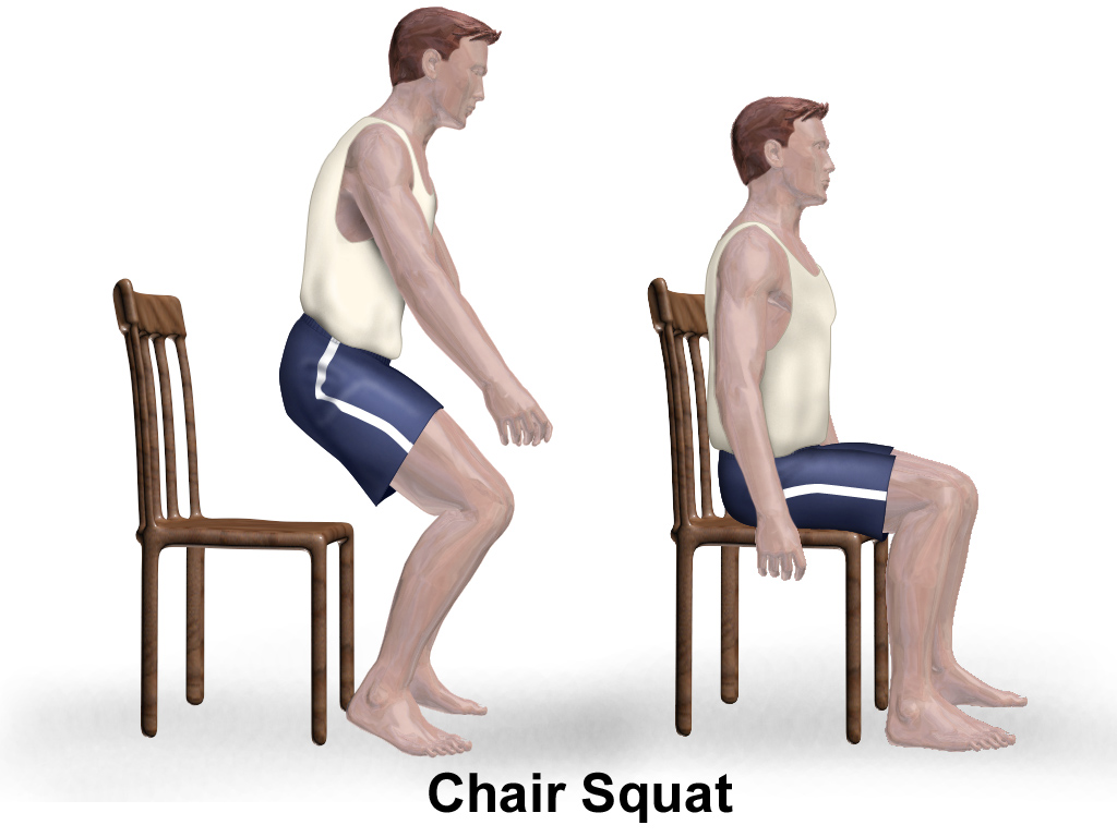 Man performing a chair squat exercise (illustration).