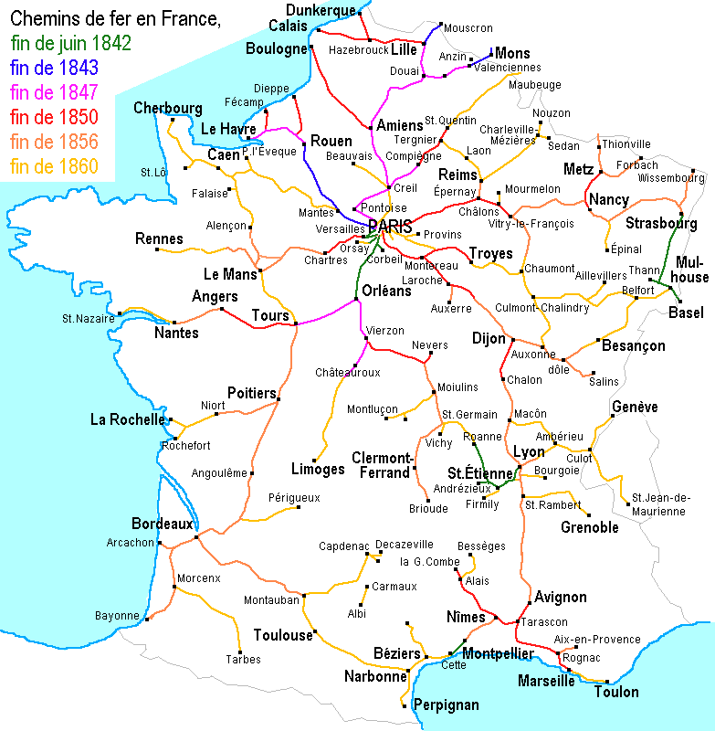 Map of Paris RER & Transilien train stations & lines