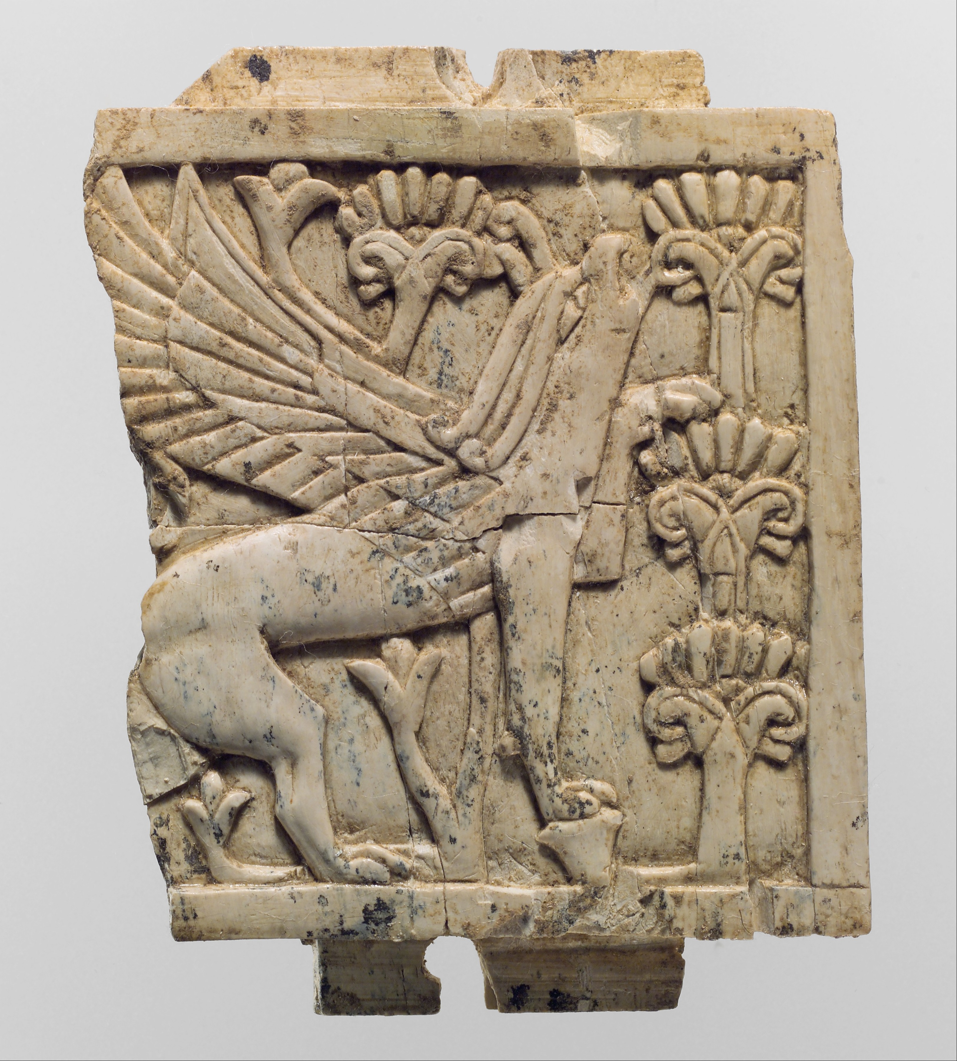File:Furniture Plaque Carved In Relief With A Griffin In A Floral Landscape  MET DP110706