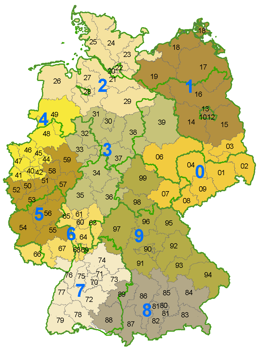 A map of Germany with the zones and regions for the first two digits of German postal codes. Source: Wikimedia Commons, Stefan Kühn