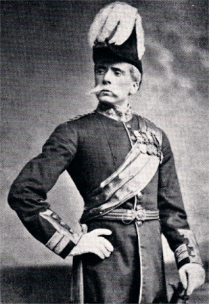 George Grossmith as General Stanley, wearing Wolseley's trademark moustache Grossmith as Gen Stanley.jpg