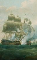 Painting showing a large sailing ship engaged in battle with another similar ship
